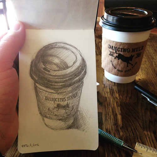 Lunchtime sketching at Dancing Mule Coffee Co