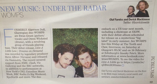Olaf Furniss and Derick Mackinnon, Scotland On Sunday, Spectrum Magazine, WOMPS