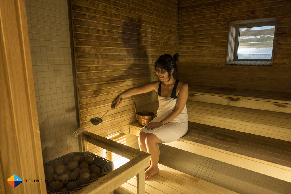 Hyesun enjoying a Finnish Sauna