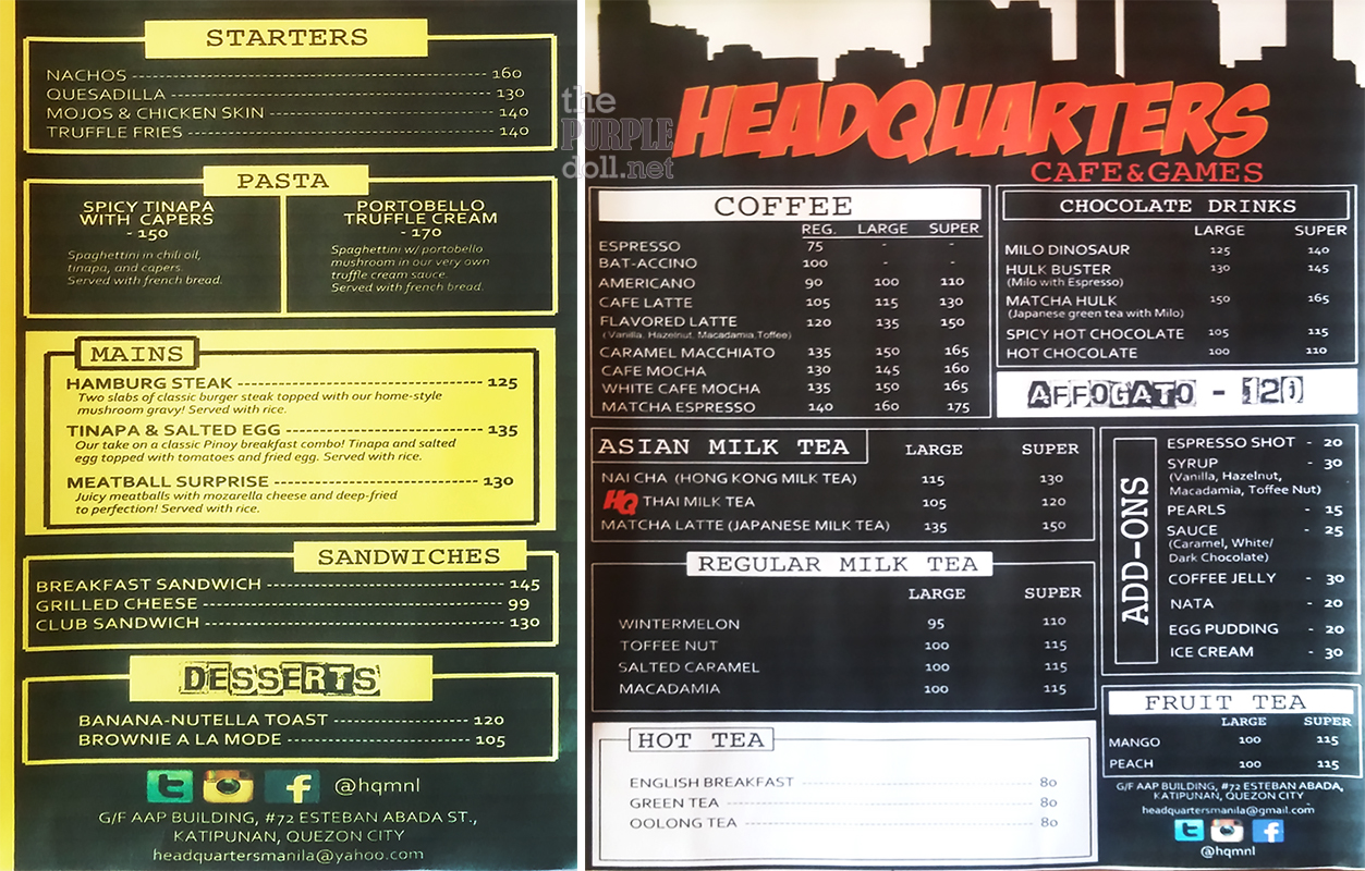 Headquarters Cafe and Games Katipunan Menu