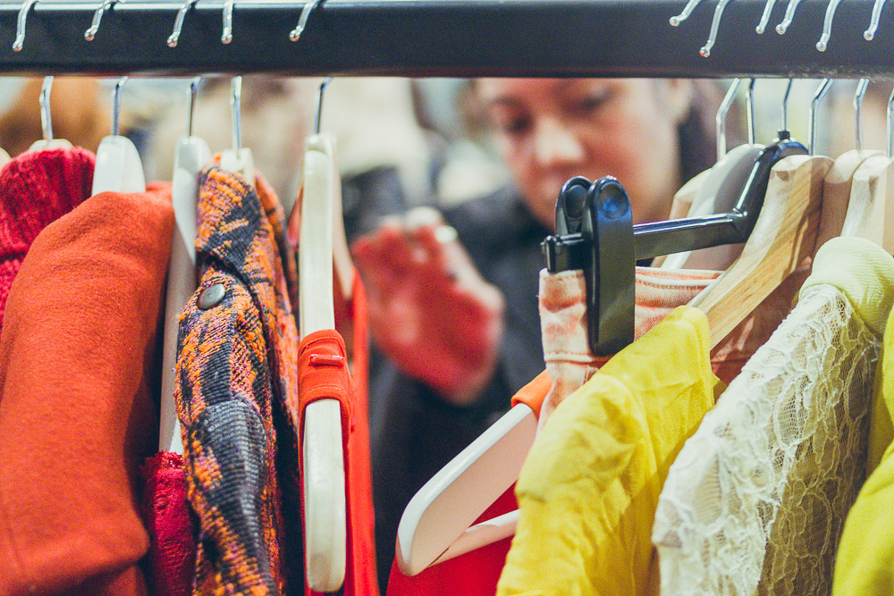 #TheBloggersMarket colourful rail of clothes