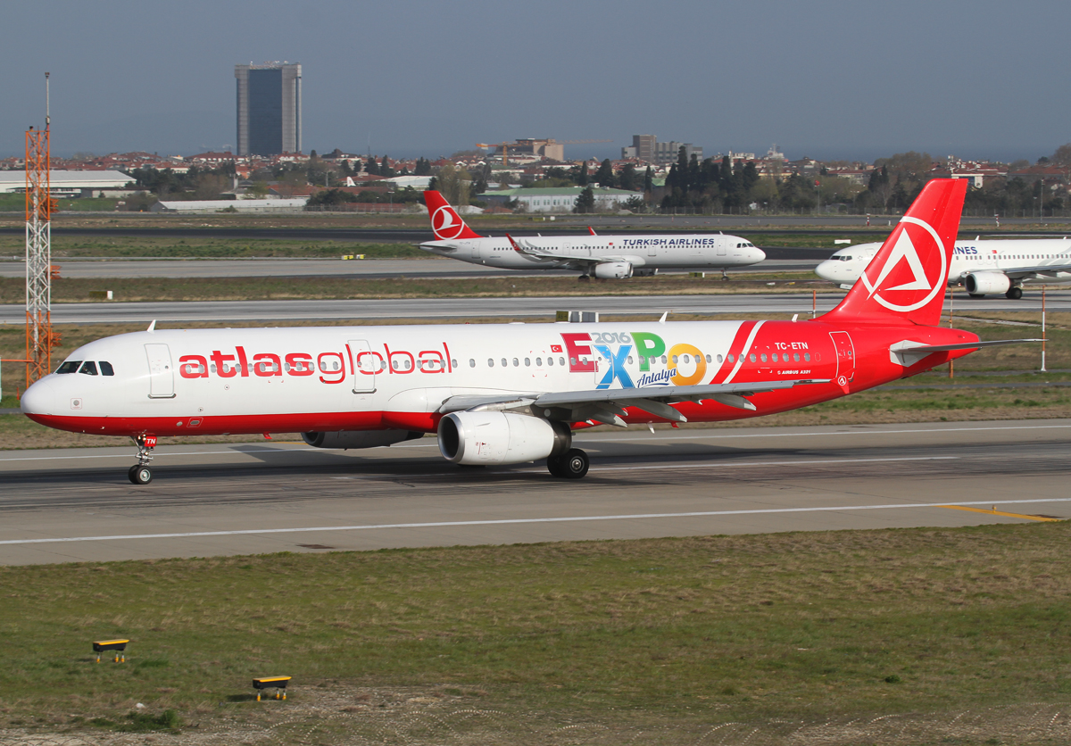 Speeding up on RWY35L for departure to Antalya AYT. Brand new with a large sticker promoting EXPO2016 in Antalya. Aircraft delivered 10/1996 to BWIA.