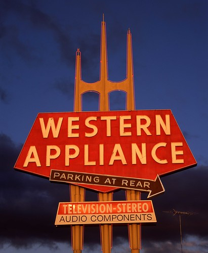 santa clara street old blue light sunset red sun storm west sign metal clouds vintage dark evening bay tv big san francisco neon bright parking jose rear carlos velvia telephoto area western huge crown sheet provia antenna appliance pointed raking rz67 e100