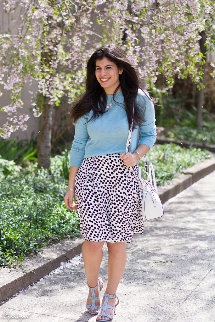 blue sweater, polka dot skirt, blue sandals-2.jpg