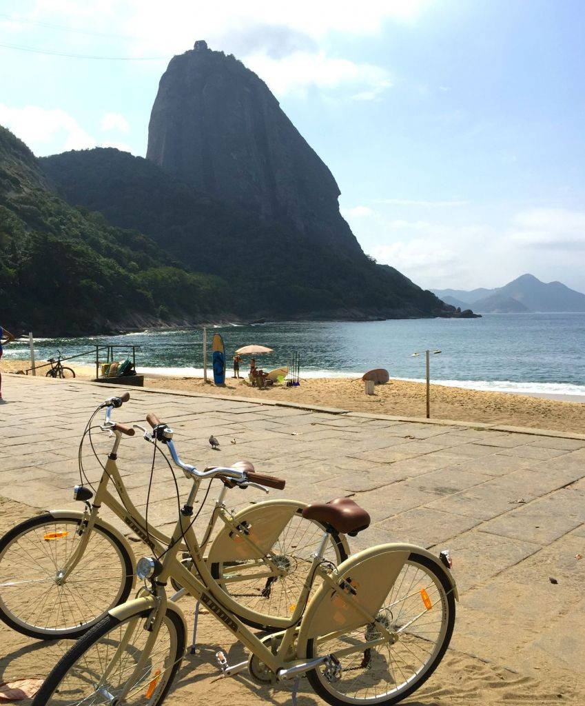 Taking in the view of Sugar Loaf on the bike tourn the bike tour