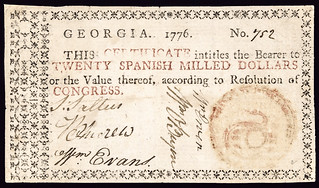 """1776 Georgia Orange Seal """"Rattlesnake"""" 20 Dollars"""