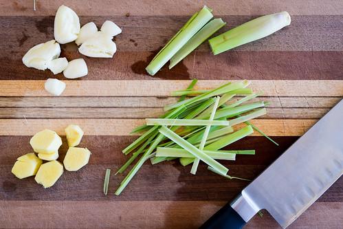 garlic, ginger, and lemongrass