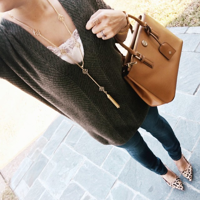 cute & little blog | petite fashion | express olive v-neck marled sweater, lace cami, paige verdugo jeans, socialite pink lariat necklace, leopard pumps | fall winter outfit