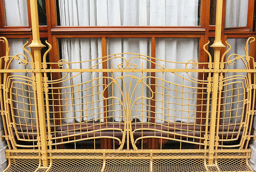 The balcony of Victor Horta's Art Nouveau House Museum in Brussels, Belgium