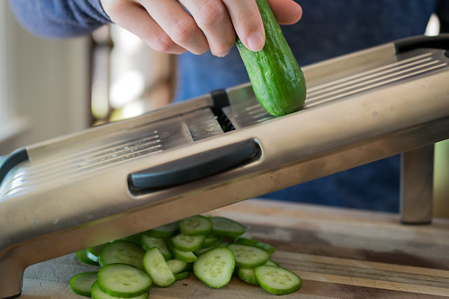 1/8-inch cucumber slices on the mandoline