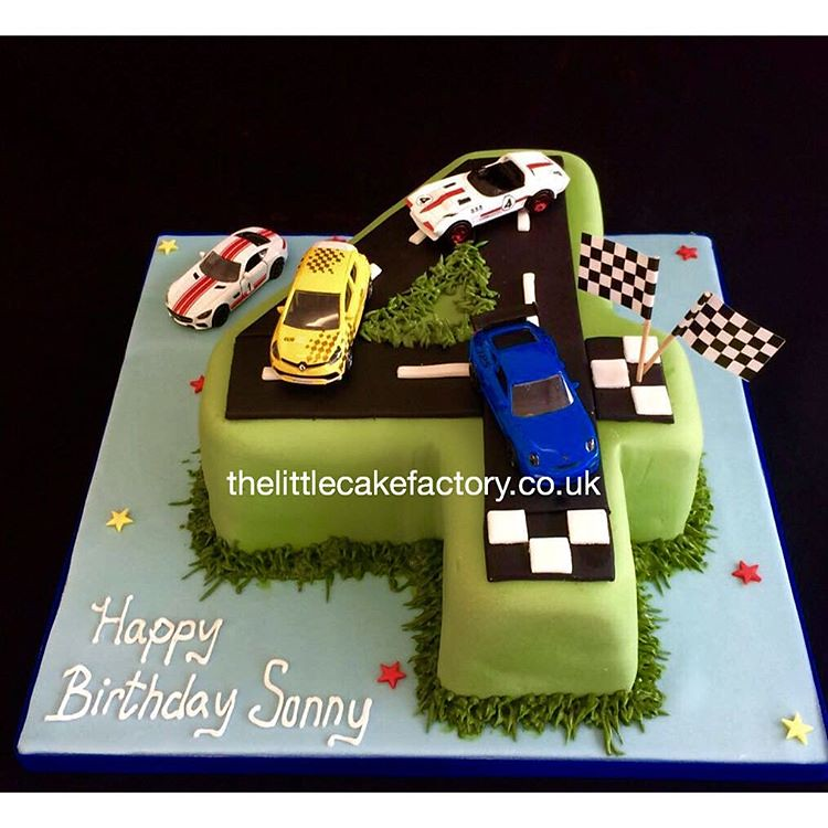 Number 4 Racing Cake Number4 Birthdaycake Children Chequeredflag