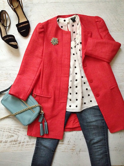 red + polka dots