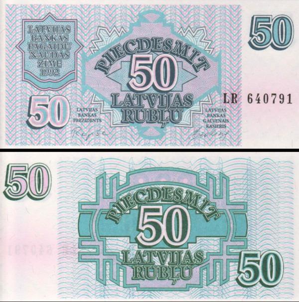 50 Rublov Lotyšsko 1992, P40 UNC