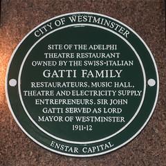 Photo of John Maria Gatti , Adelphi Theatre Restaurant, London, Agostino Gatti, and Rocco Joseph Stefano Gatti green plaque