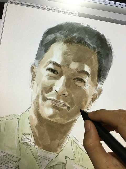 Digital portrait for Singapore Armed Forces. Already not an easy job made it even more challenging with a very challenging reference photo provided....:D