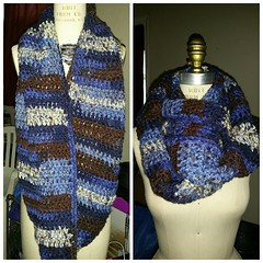 Finished last night. Blue and brown blend. @iamurgemini your cream scarf is next.