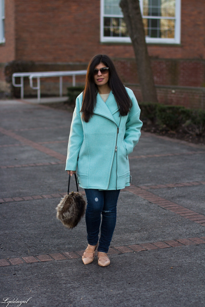 mint cocoon coat, white sweater, denim, fur bag-5.jpg