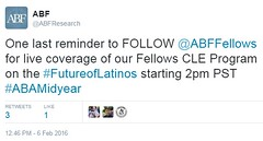 Live Tweets at Fellows CLE Program on the Future of Latinos in the U.S.