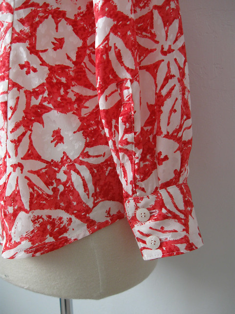 coral silk blouse cuff