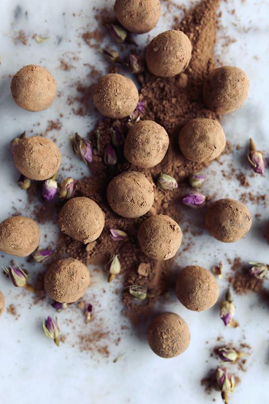 Dark Chocolate Rose Water Truffles
