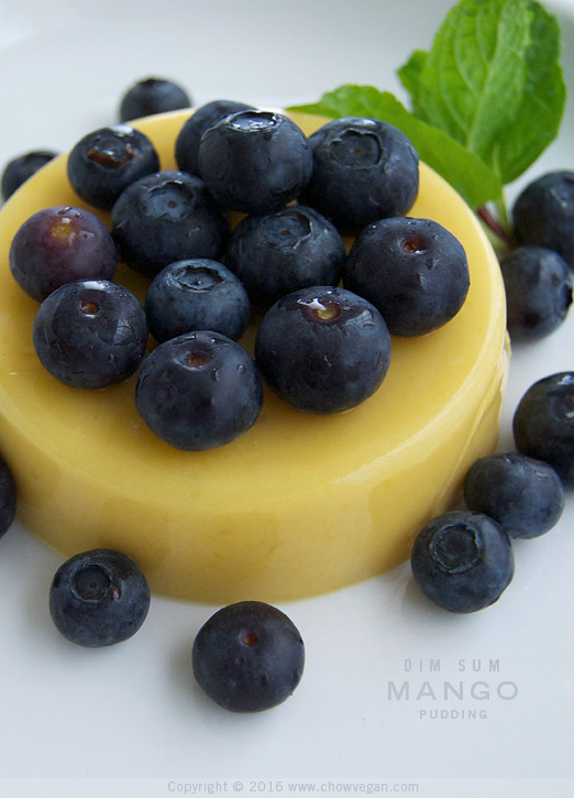 Dim Sum Mango Pudding with Blueberries