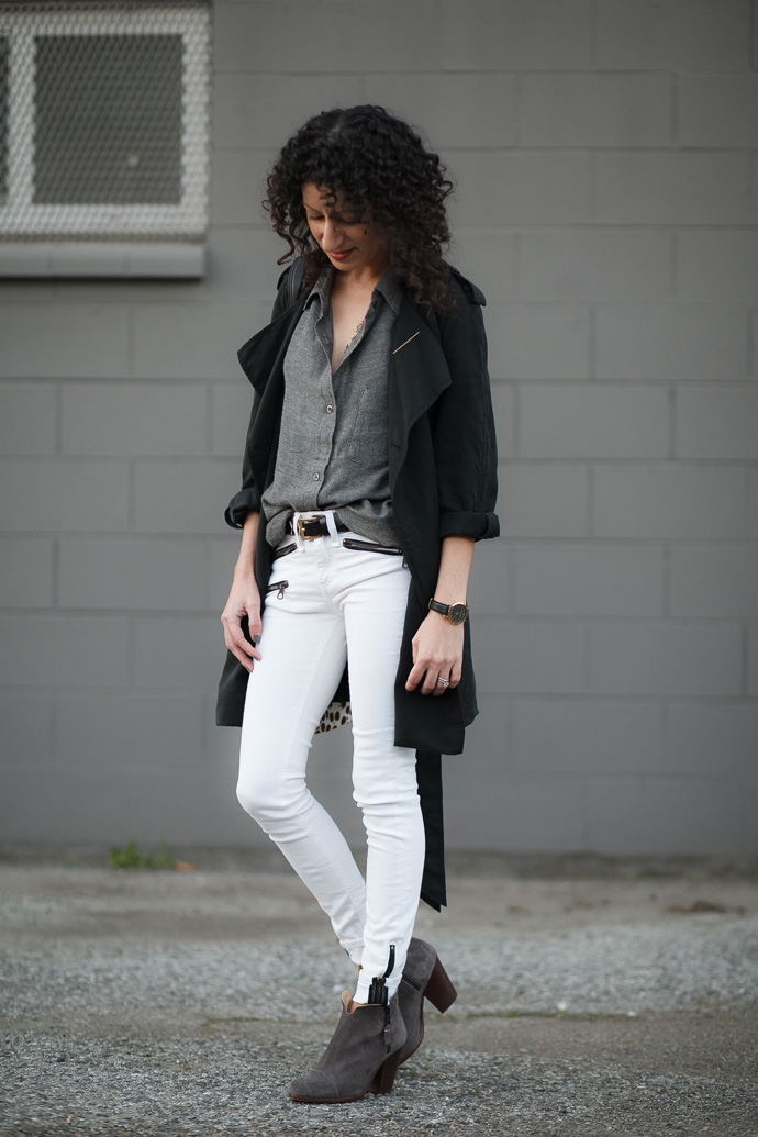 White denim jeans for fall and winter