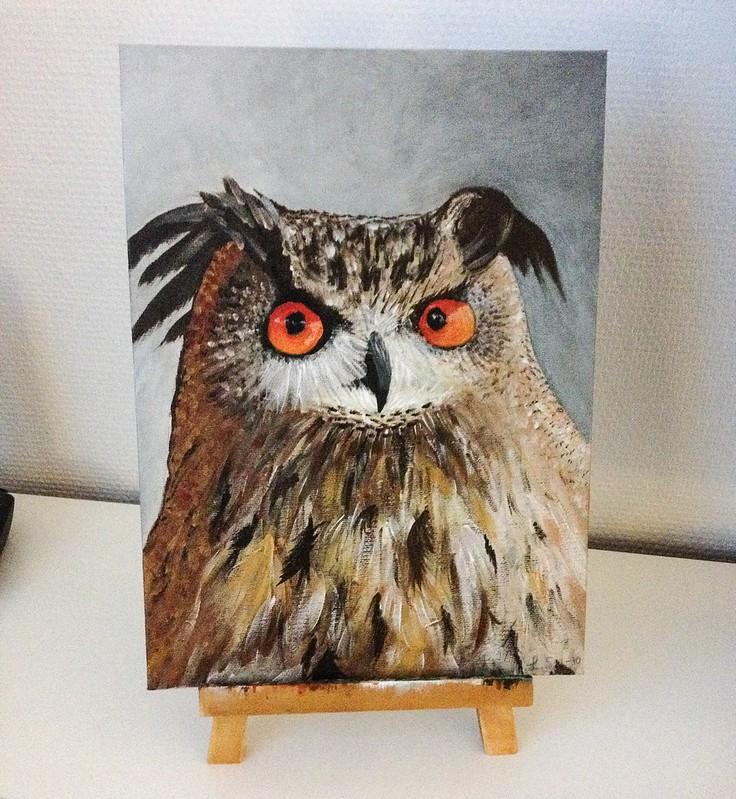 akrylmålning uggla steg 5
