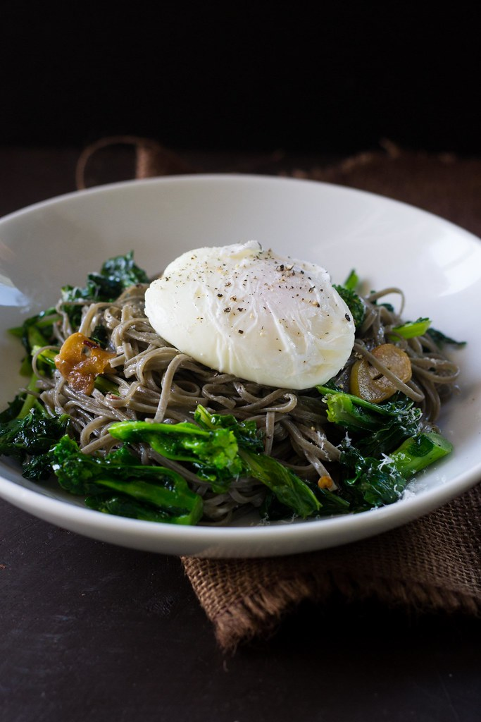 Sepia Pasta with Broccoli Rabe and Poached Egg