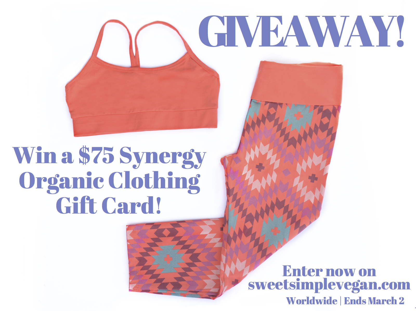 I have partnered up with Synergy Organic Clothing to bring you all the chance to win $75 to their online shop! All of their clothing is made with Certified ...