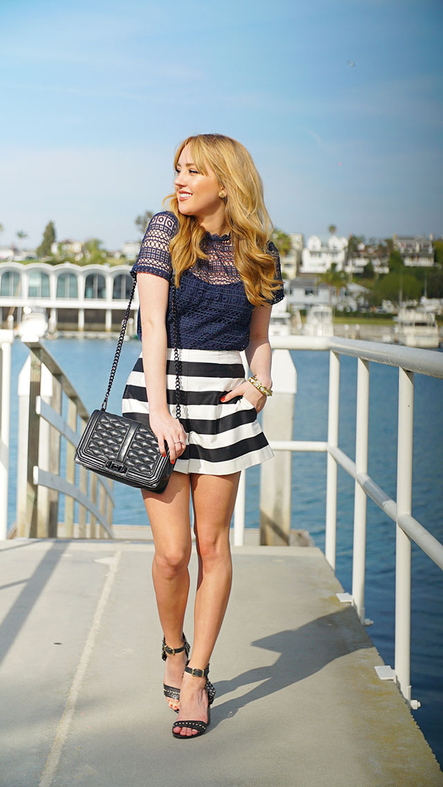 Hannah-hagler, Hannah-champagne-lifestyle, champagne-lifestyle, champagne-lifestyle-blog, fashion-blogger, affordable-fashion-blogger, budget-friendly-fashion-blog, budget-friendly-fashion-blogger, beauty-blogger, youtuber, female-youtuber, interior-designer, affordable-fashion, chic-fashion-ideas, fashion-inspiration, navy-blue-lace-top, h&m-lasercut-top, h&m-blue-lace-top, black-and-white-striped-shorts, asos-striped-shorts, schutz-caroline-heels, schutz-black-sandals, rebecca-minkoff-love-crossbody-all-black, love-crossbody,nautical-inspired-outfit, nautical-chic, margaret-elizabeth-10-stone-onyx-bangle, margaret-elizabeth-gold-chain-bracelet, tory-burch-large-logo-earrings