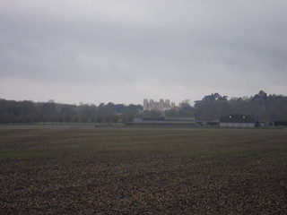 Mentmore Towers from footpath by Cheddington station