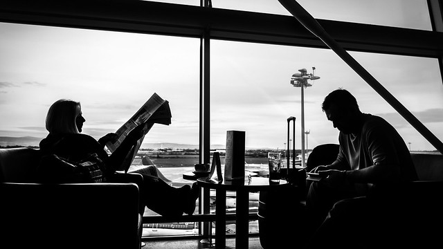 At the airport - Dublin, Ireland - Black and white street photography