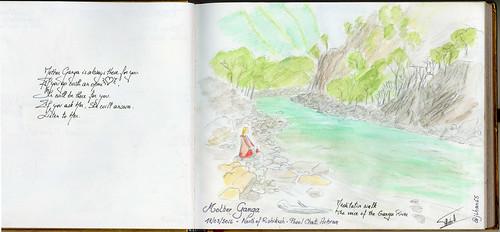 Sketchnotes from India - Meditative walks in Phool Chatti ashram, north of Rishikesh