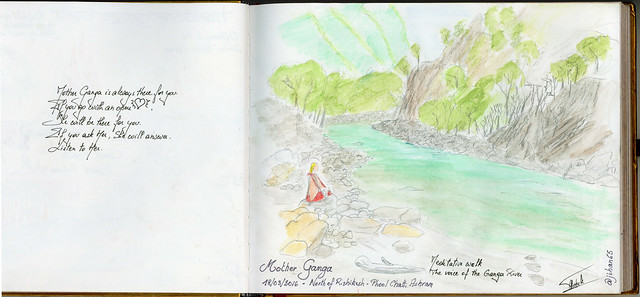 Sketchnotes from India - Meditative walks in Phool Chatti ashram, north of Rishikesh