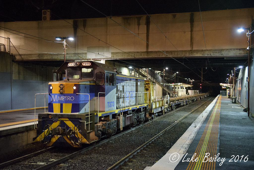 T373 with #7401 Metro rail train to Southland at Moorabbin by Luke's Rail Gallery