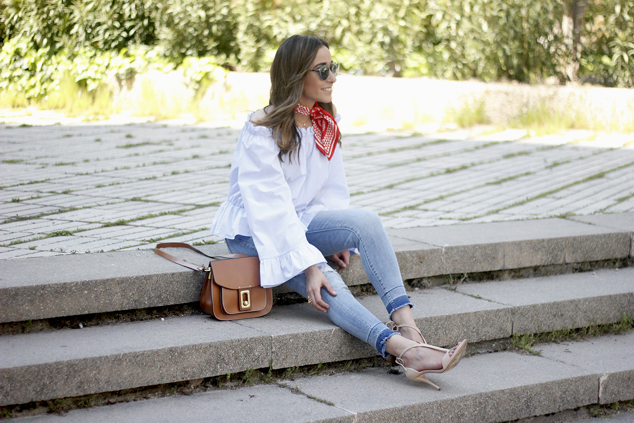 off the shoulders top with bell sleeves red bandana nude heels dior sunglasses spring outfit10