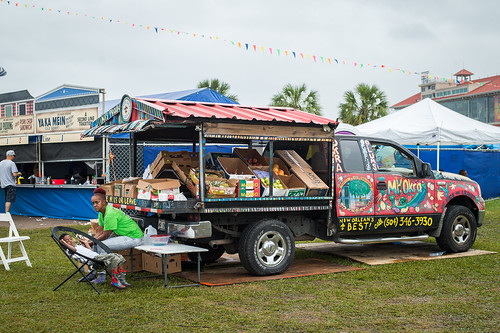 Mr Okra's truck at Jazz Fest 2016 Day 4.  Photo by Kate Gegenheimer