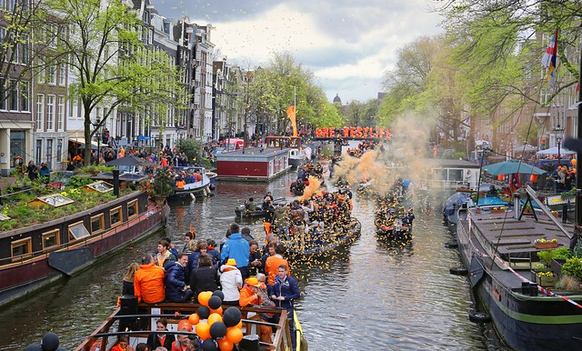 Our Prime Minister Mark Rutte turns around and enjoys Kingsday in Amsterdam