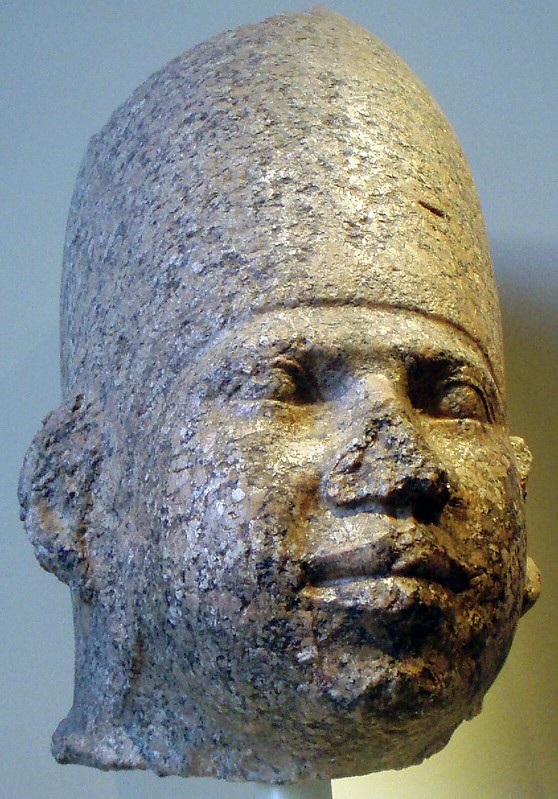 Granite head of an Old Kingdom pharaoh, expected to be Huni; from Brooklyn Museum