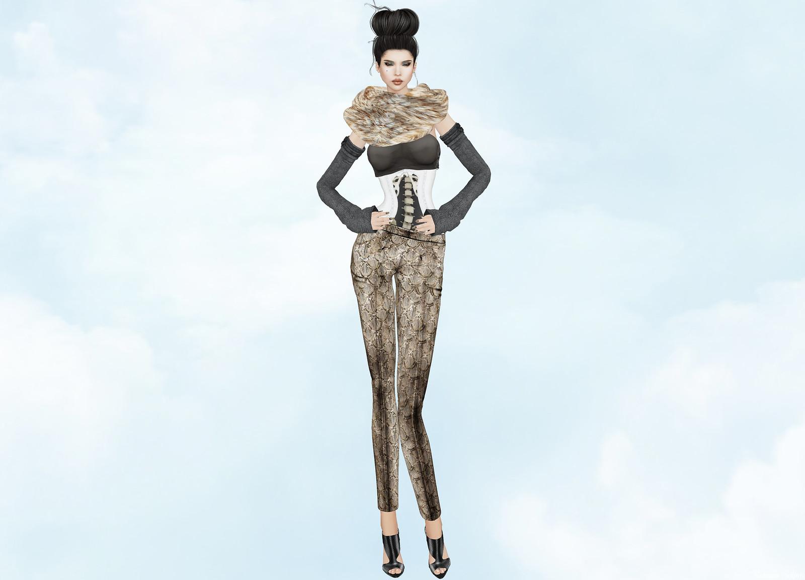 VERO MODERO - Fur Scarf & Ellen Pants