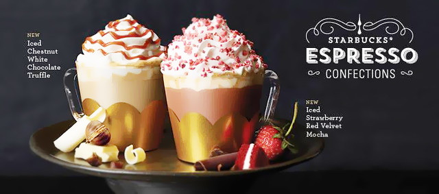Starbucks 2016 Strawberry Red Velvet Mocha & Chestnut White Chocolate Truffle