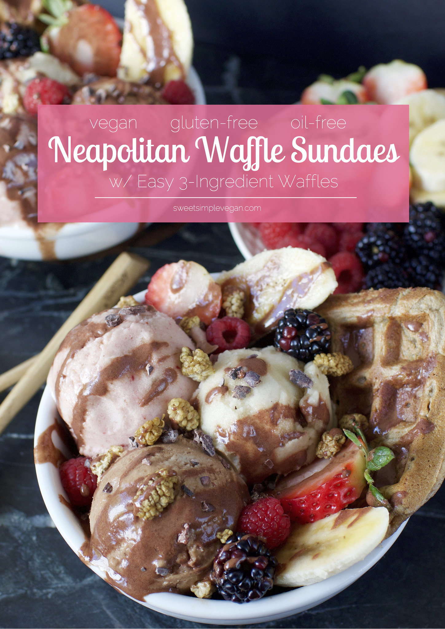 Vegan Neapolitan Waffle Sundaes {raw, oil-free} -- 3 Ingredient Waffles! sweetsimplevegan.com