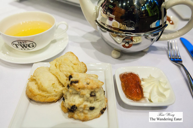 Freshly baked scones with Victorian Creme and 1837 black jelly tea jelly