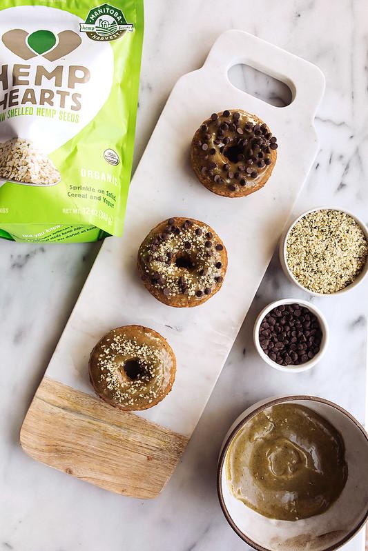 Banana Bread Gluten-free Doughnuts with Maple Hemp Heart Glaze