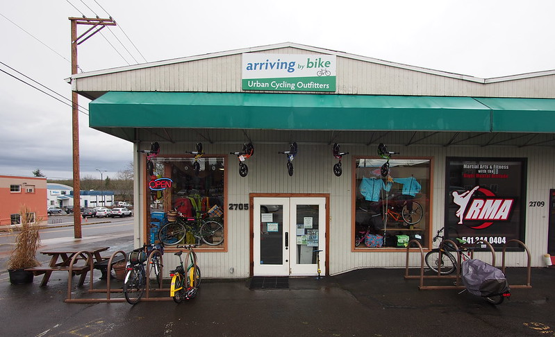 Arriving by Bike: The second shop we toured.  The timing was perfect, too, as a storm had just rolled in a few minutes before we'd arrived.