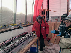Eric Steig pushes the last core out of the drill barrel