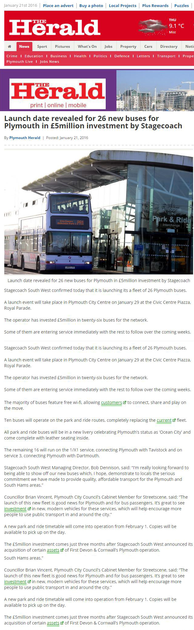 Launch date revealed for 26 new buses for Plymouth in £5million investment by Stagecoach - Plymouth Herald