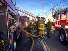 Los Angeles Firefighters Battle Vacant Apartment Complex Fire