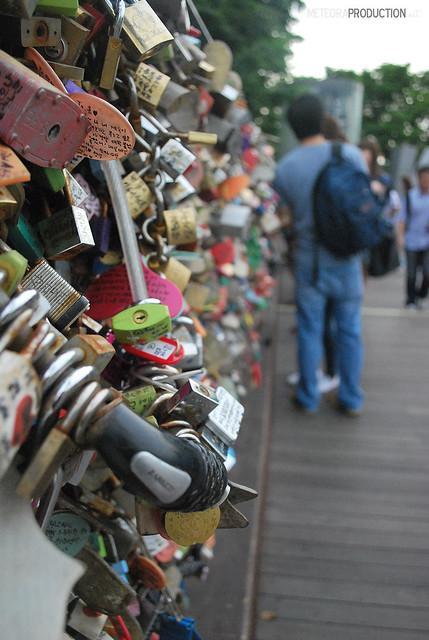 Love padlocks at N Seoul Tower