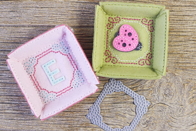 Stitched Square Trays with Stitched Square Monogram Frame Detail